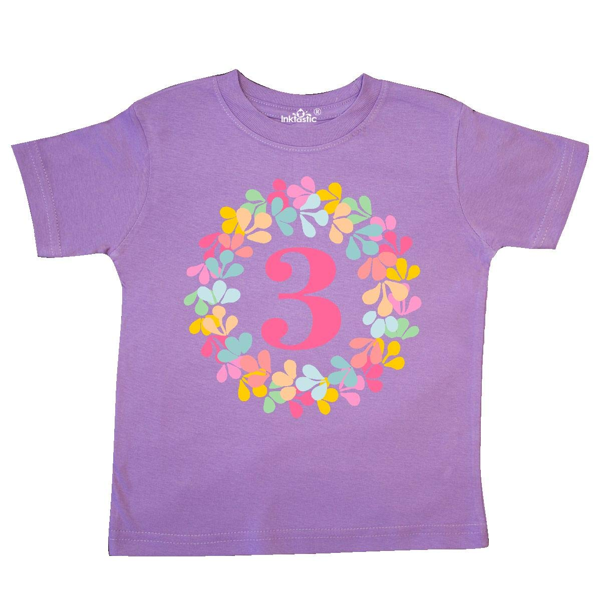 inktastic 3rd Birthday Flower Wreath 3 Year Old Girl Toddler T-Shirt