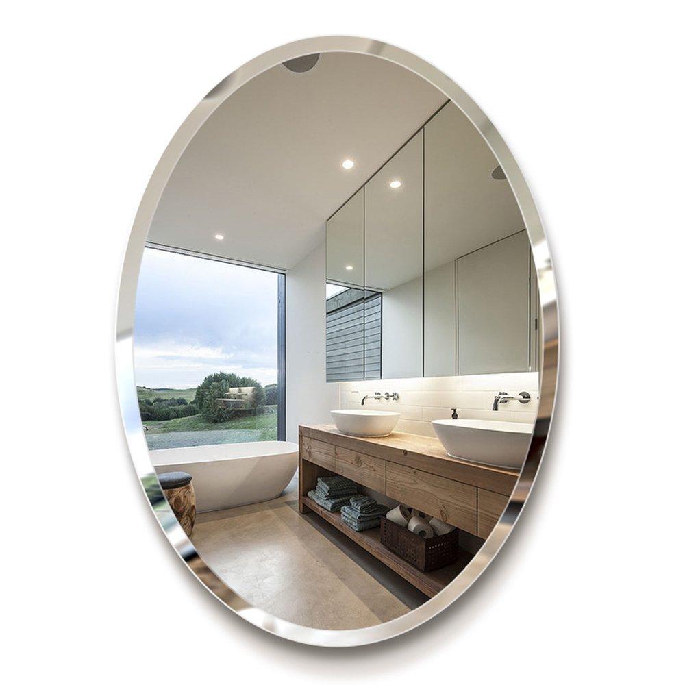 Bathroom Mirror - European Style Bathroom Oval Mirror/Bathroom Dressing Wall Mirror/Simple Makeup mirror/5mm high-Definition Mirror Oblique Side (Size : 45*60cm) Harvest US