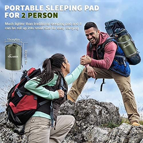 VOLADOR Double Sleeping Pad, Foot Pump Inflating Camping Mat for Two Person, Portable Outdoor Inflatable Air Mattress for Backpacking Hiking, Travel, Tent