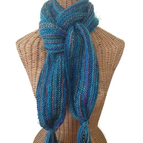 d87a07a52aef7 Image Unavailable. Image not available for. Color: Teal Hand Knit Scarf Wool  Blend