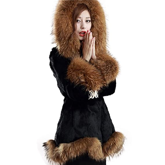 Fur Story 151162 para Mujer Largo Real Pelo de Conejo Abrigo Negro 44: Amazon.es: Ropa y accesorios