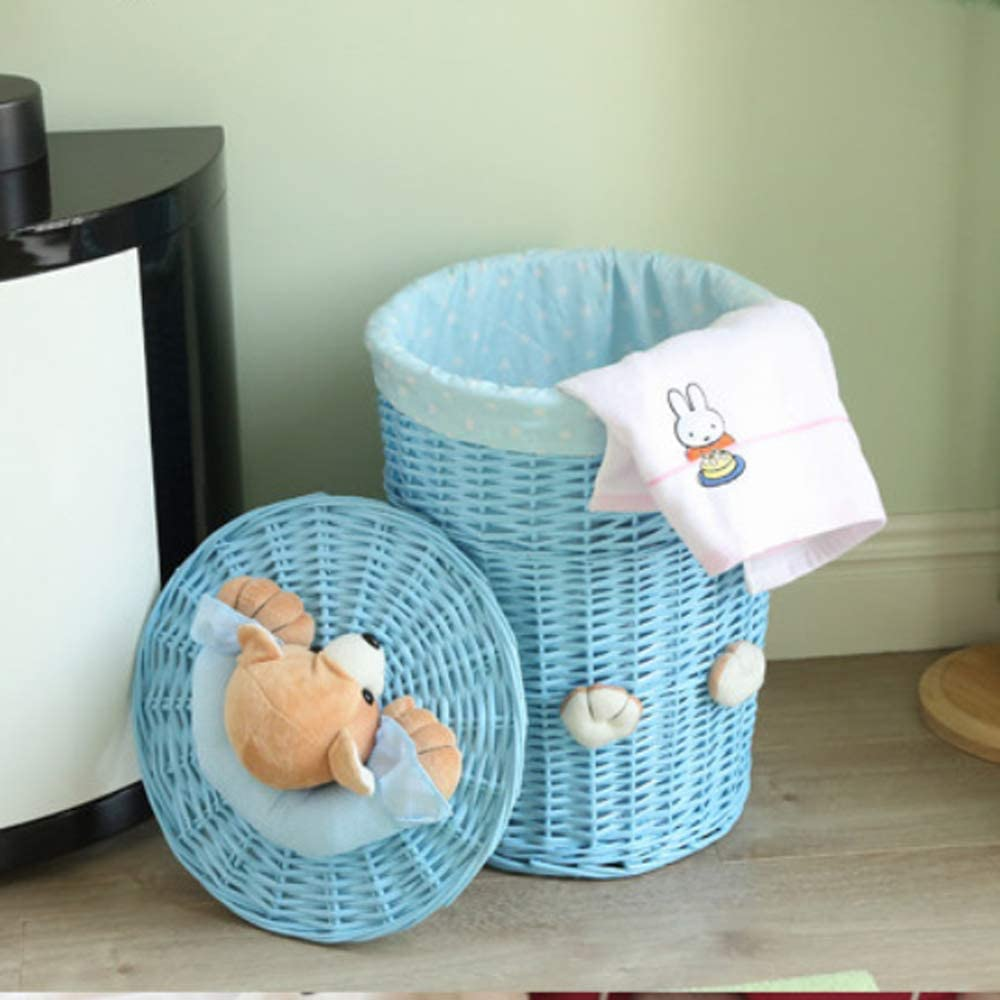 Fedorenko Wicker Handmade Round Laundry Sorters with Bear Head Lid Wicker Basket (Small, All Blue)
