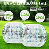 OrangeA Inflatable Bumper Ball Diameter 1.2M Bubble Soccer Ball 0.8mm PVC Transparent Material Zorb Ball for Adults and Kids (2 Pcs )