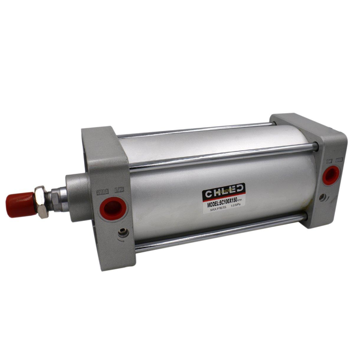 Heschen pneumatico standard cilindro SC 100 –  150 PT1/2 porte 100 mm (10, 2 cm) Diametro 150 mm (15, 2 cm) corsa a doppio effetto 2cm) Diametro 150mm (15 2cm) corsa a doppio effetto CHLED Pneumatic