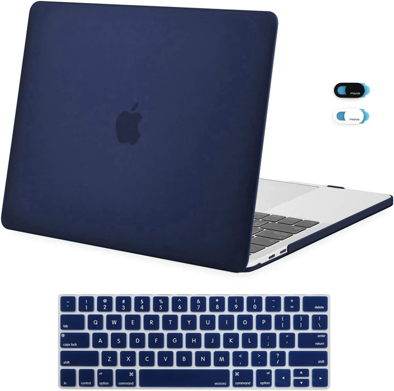 MOSISO MacBook Pro 13 inch Case 2019 2018 2017 2016 Release A2159 A1989 A1706 A1708, Plastic Hard Shell Case & Keyboard Cover Skin & Webcam Cover Compatible with MacBook Pro 13 inch, Navy Blue