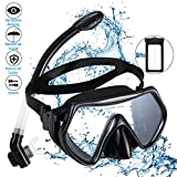 Snorkel Set Snorkeling Gear Package Adults Diving Snorkel Mask Scuba with Silicon MouthPiece Tempered Glass Silicone Diving Anti-Fog Lens (Black)