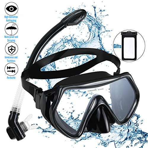 Snorkel Set Snorkeling Gear Package Adults Diving Snorkel Mask Scuba with Silicon MouthPiece Tempered Glass Silicone Diving Anti-Fog Lens (Black) by Kimyer