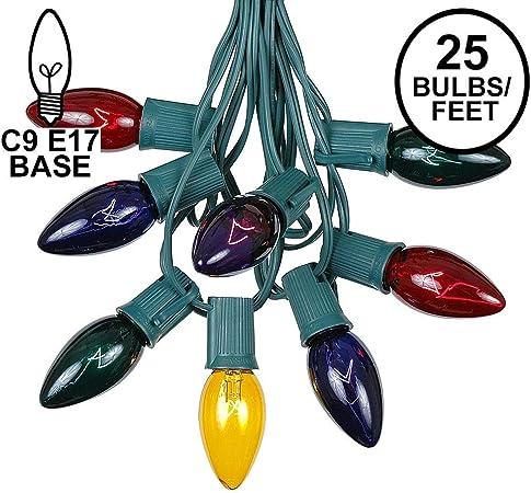 25 Foot C9 Ceramic Blue Christmas Light Set Hanging String Lights Brown Wire