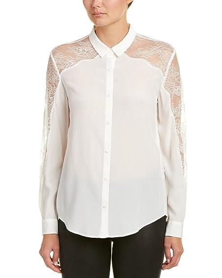 The Kooples Womens Lace Yoke Shirt, XXS, White