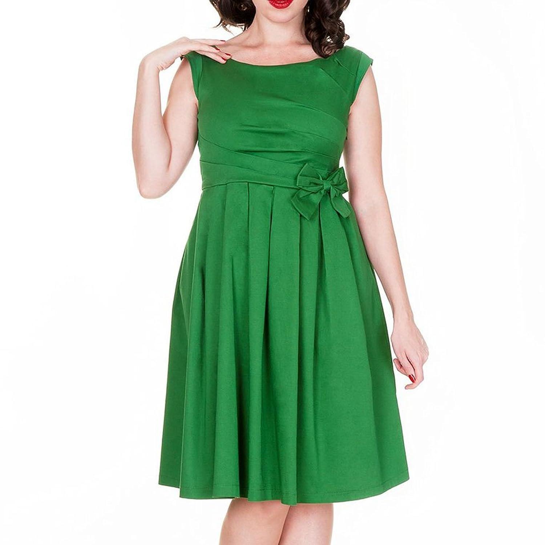 Kekexili-Vintage-Kleid-Frauen ärmel 50s Retro-Swing-Abendkleid mit Fliege