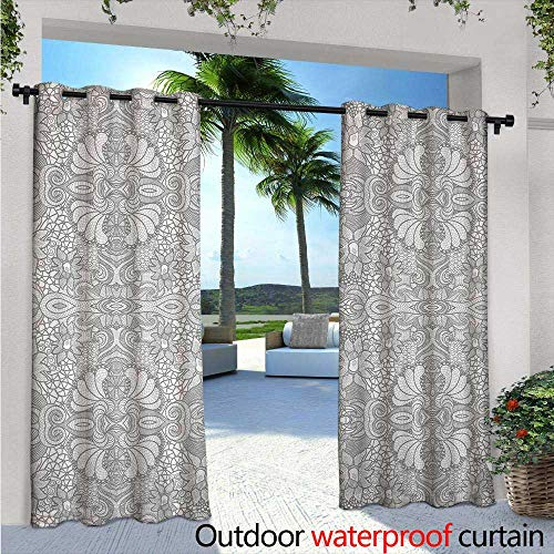 Paisley Block Light - Flower Exterior/Outside Curtains W96 x L96 Floral Eastern Paisley Motif Inspired Lace Like Vintage Image Artwork Print for Patio Light Block Heat Out Water Proof Drape Black and White