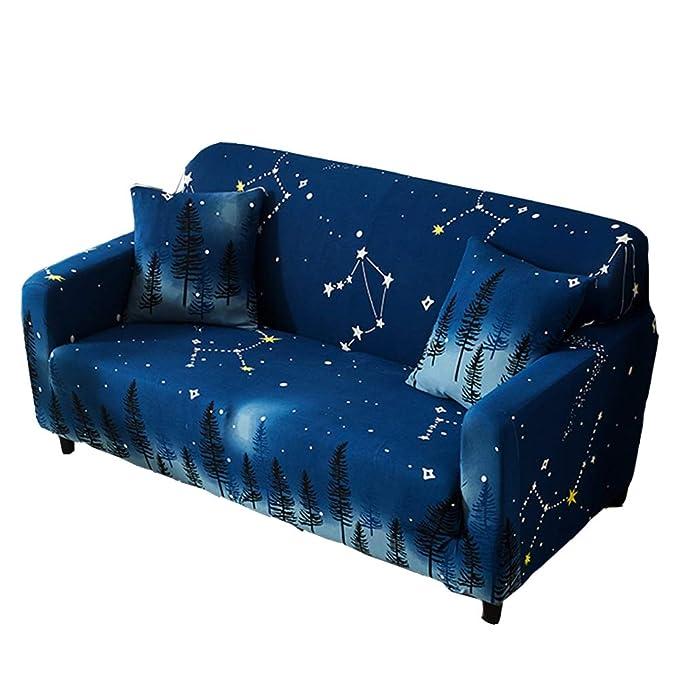 CHYOOO Funda De Sofa Tejido Suave Azul Marino con Estampado ...