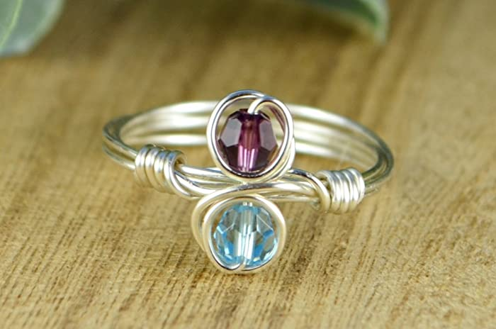 Amazon Any Two Vertical Crystal Birthstones Couple Or Best