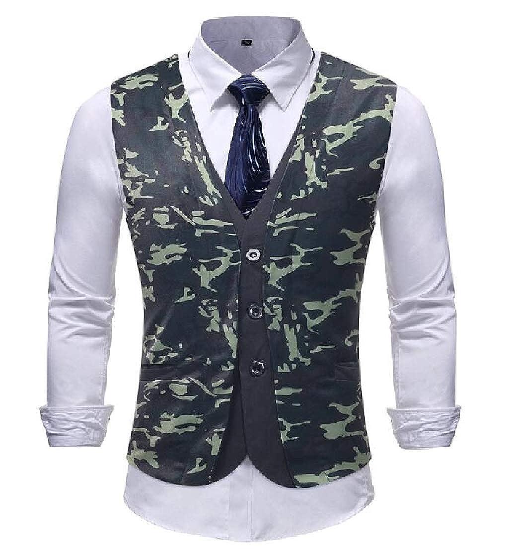 KLJR Men Sleeveless Casual Camo Slim Hipster Suit Vests Waistcoat