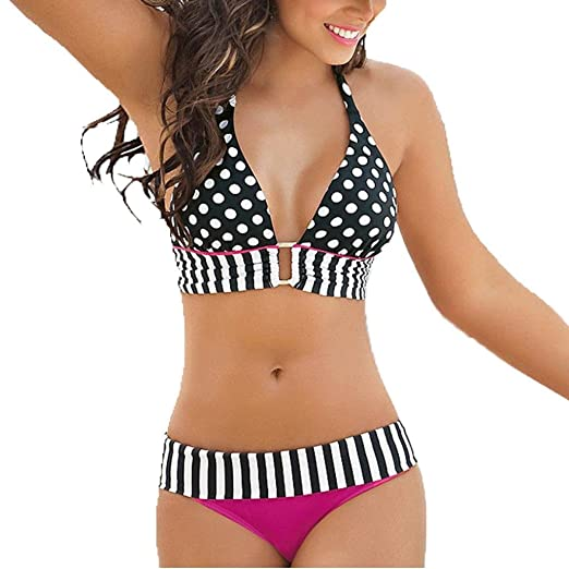 308fdbcdb4c Axchongery Sexy Women Bikini Set Push-Up Beachwear Stripe Halter Polka Dots  Swimwear (Hot
