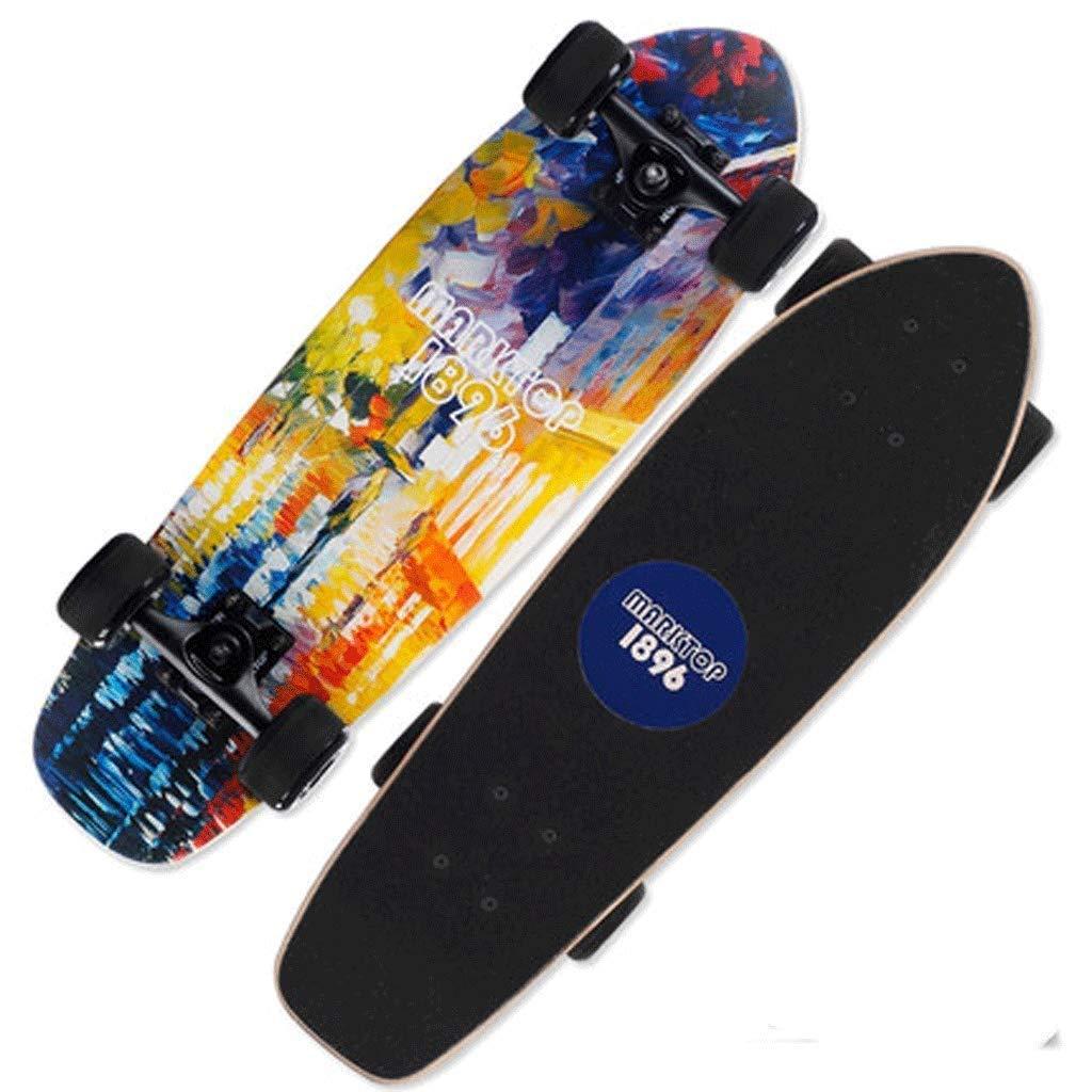 YHDD ショートボードティーンストリートビッグフィッシュボードスケートボード男性と女性の小さなフィッシュボード大人四輪スケートボード (Color : B) B