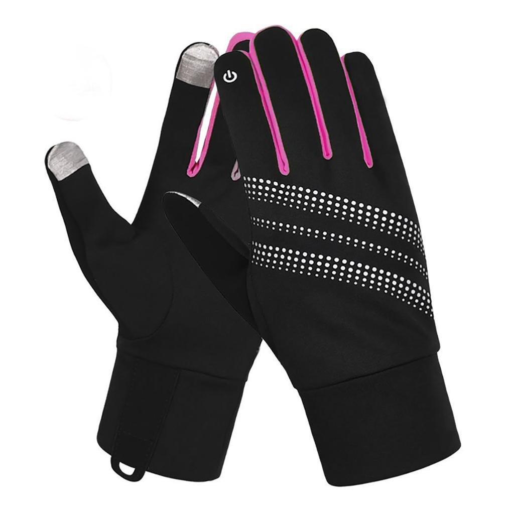 7-Mi Women Glove Reflective Design Winter Running Cycling Biking Gloves Touch Screen Outdoor/Indoor Sports Gloves Windproof Gloves S/M Pink