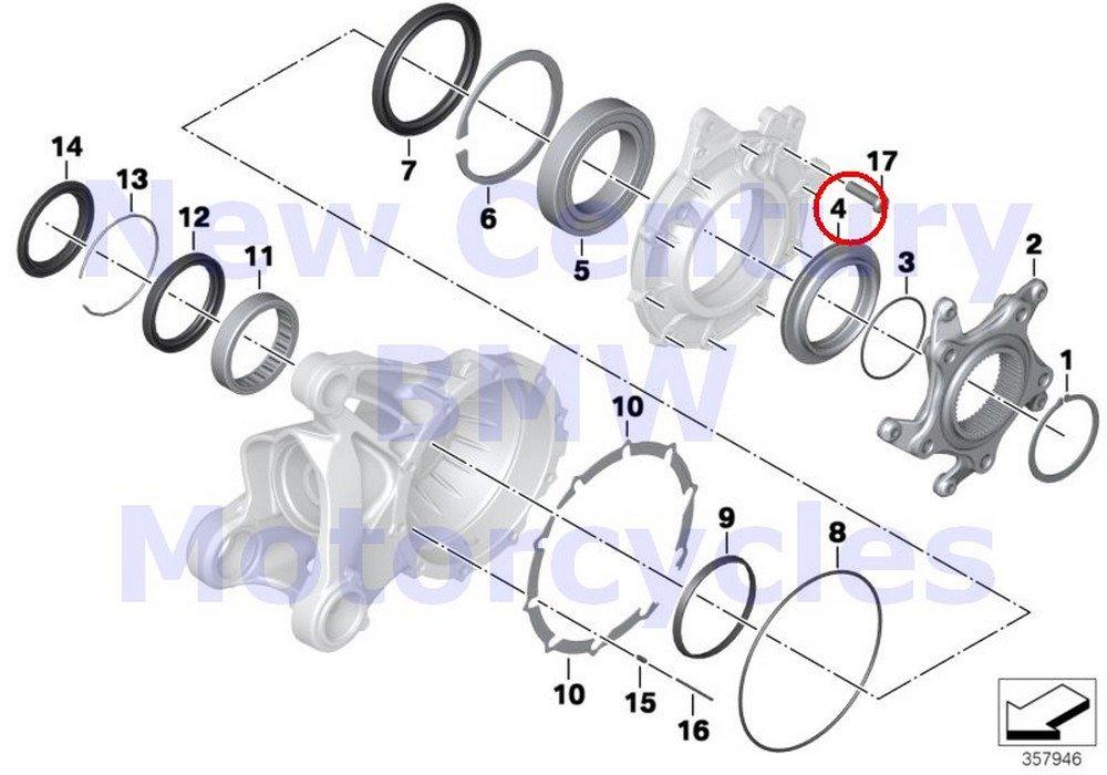 BMW Genuine Motorcycle Ring Gear Bearing Spacer Ring R1200GS R1200GS Adventure HP2 Enduro HP2 Megamoto R1200RT R900RT R1200R R1200ST HP2 Sport R1200S K1200S K1300S K1200R K1200R Sport K1300R K1200GT