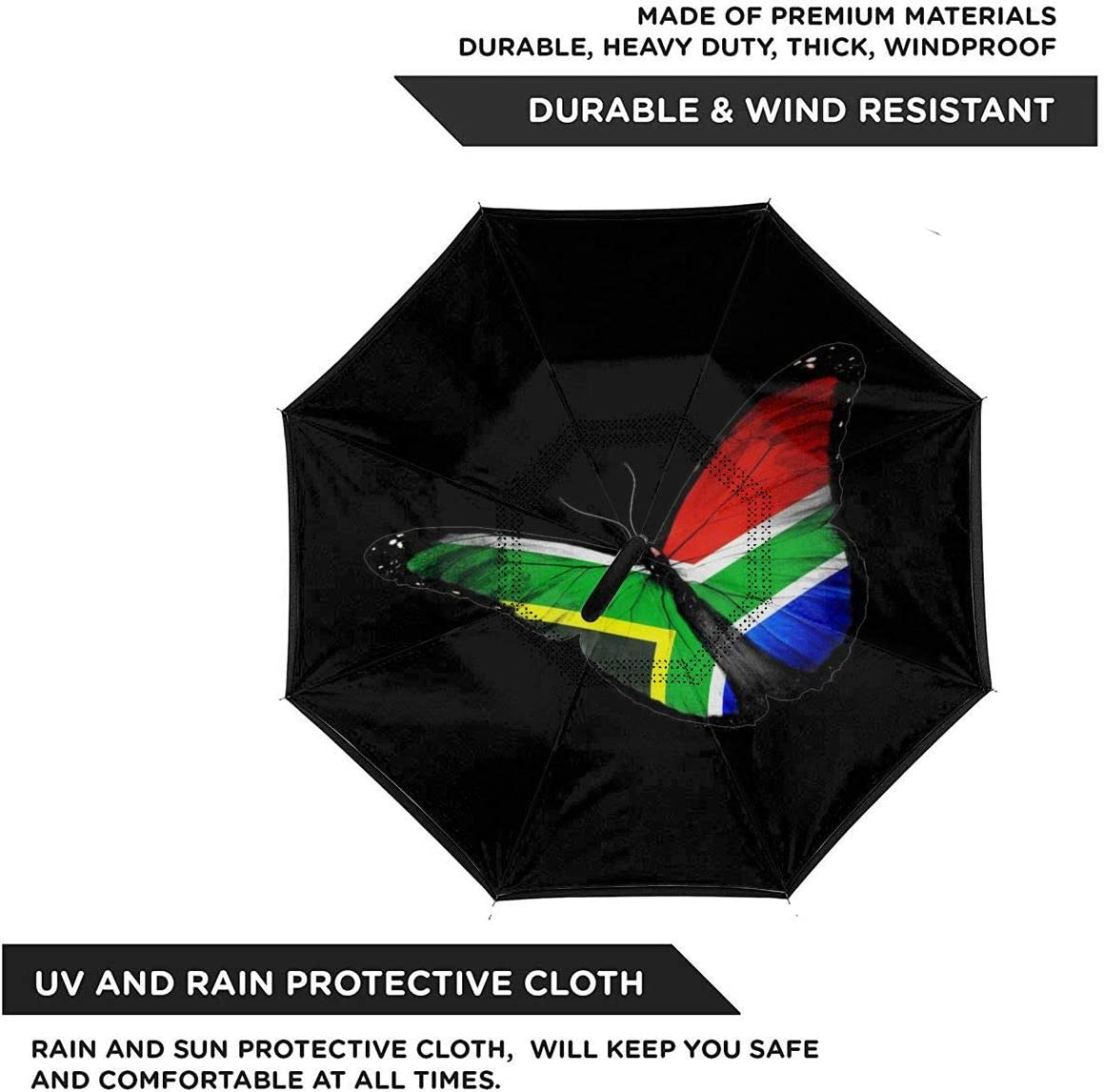S200US South African Flag Butterfly Inverted Reverse Umbrella Sun/&Rain Car Large Windproof Travel UV Umbrella