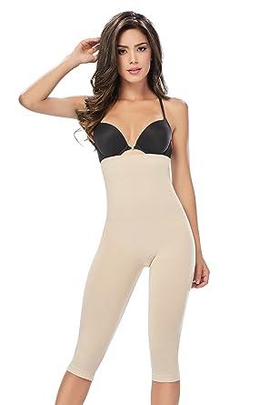 5563e249c5c46 Shapewear Seamless Shaper Butt-Lift High Panty Capri a Cocoon Body Shaper  Fajas Beige