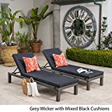 Venice Outdoor Mixed Black Wicker Chaise Lounge with Dark Grey Water Resistant Cushion (Set of 2)