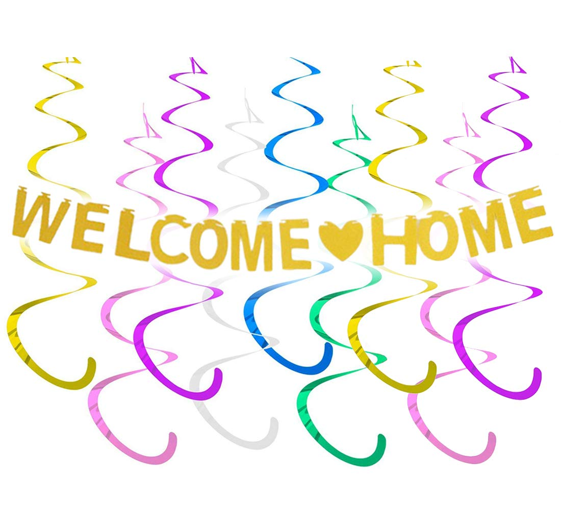 JOYMEMO Welcome Home Banner Decoration Kits for Family Party Decor Gold Glitter