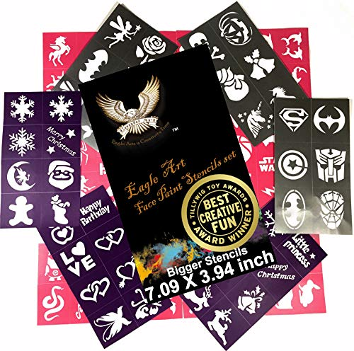 Eagle Art Face Paint Stencils | Bigger Stencils 7.09x3.94 inch | X-Large 2x2.4, Large 2x1.8, Medium 2x1.4 size | Flex to Follow Contour Body & Face for Perfect Application | Reusable Adhesive Stencils ()
