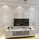 10m Fashion Modern Non-Woven 3D Pattern Victorian Wallpaper Roll, Print Embossed Moisture-Proof Luxury Textured Wallpaper for Bedroom Living Room Home Background Wall Décor (Silver)