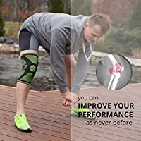 Knee Brace with Silicone Pad and Elastic Metal Side Bars - Compression Sleeve for Running, Weightlifting, Powerlifting, Volleyball - CHECK THE SIZE CHART - Size S, M, L, XL by ANRi.e.