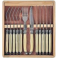 Château Laguiole Laguiole Style Cutlery Steak Knife & Fork Set   12pce, Ivory, CHA6V