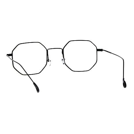 dc125c1a9f63 Amazon.com: Mens Vintage Style Octagon Metal Wire Rim Snug Rectangular  Sunglasses Black Clear: Clothing