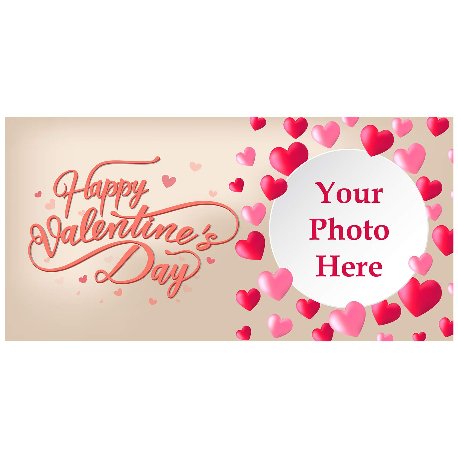BANNER BUZZ MAKE IT VISIBLE Happy Valentine's Day Custom Magnetic Picture Bunch of Hearts Pocket Frame, Self-Adhesive Pocket Photo Magnets for Refrigerator, Valentine Day Gifts & More (12'' X 24'')