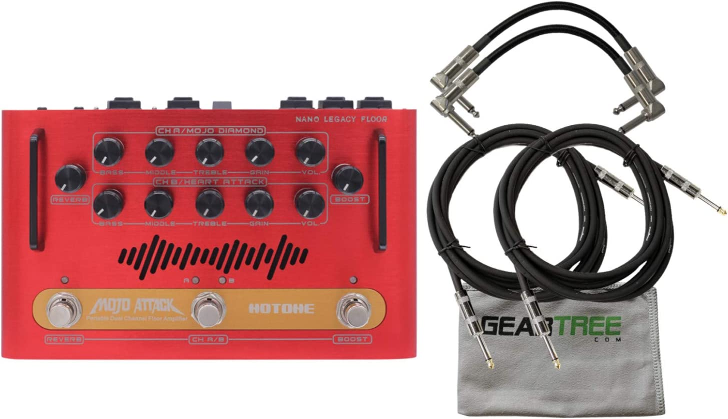 Hotone NLF-2 MojoAttack Nano Legacy Floor Amplifier Pedal w// 4 Cables and Geartr