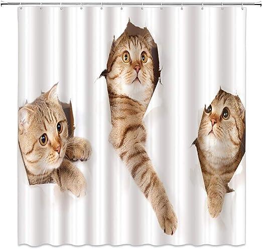 Animals Funny Kitten Cat Bathing Decor Bathroom Shower Curtain 3D printing 71×71