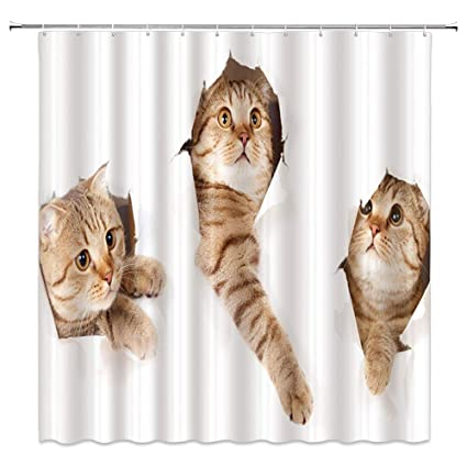 Lileihao Animal Series Cat Cute Kitten Shower Curtains Set For Bathroom 69 X 70 Inch Waterproof