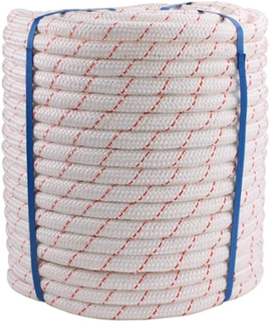 LIINA ロープ 空中作業ロープ補助ロープの直径10 Mmの白いナイロンコア防水および耐久力のある引き力の強い軸受け容量 (Size : 100m)  100m