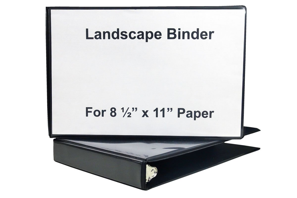"1"" Heavy Duty Landscape Binder - Black vinyl - Holds text in horizontal format - Overlay inserts for the front, spine and back with inside pockets - Great for engineering drawings, city planning,"