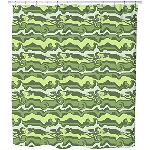 Uneekee Green Wave Chaos Shower Curtain: Large Waterproof Luxurious Bathroom Design Woven Fabric by uneekee