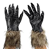 ONEDONE Wolf Latex Horrific Costume Accessory Gloves for Halloween and Cosplay Black
