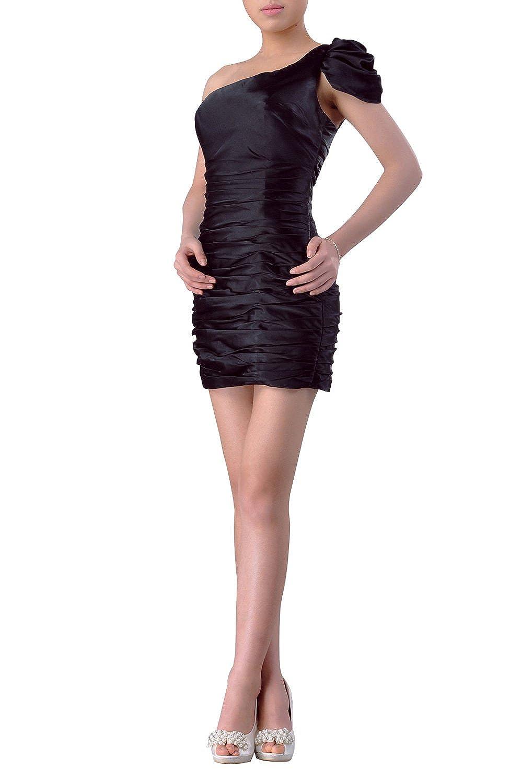 Adorona Short Sleeves One Shoulder Little Black Dresses