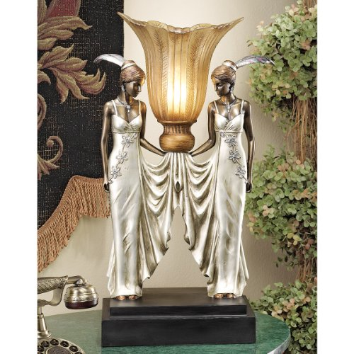 Amazon design toscano art deco peacock maidens sculptural table amazon design toscano art deco peacock maidens sculptural table lamp 20 inch polyresin bronze and pearl finish kitchen dining aloadofball Images