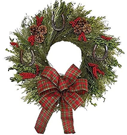 equine luxuries rustic horseshoes year round dried natural wreath lighted - Horseshoe Christmas Wreath