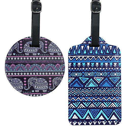 Cheliz PU Leather Round+Square Luggage Tags Suitcase Labels Bag - Set of 2(Elephant) (Leather Tags Bag Round)