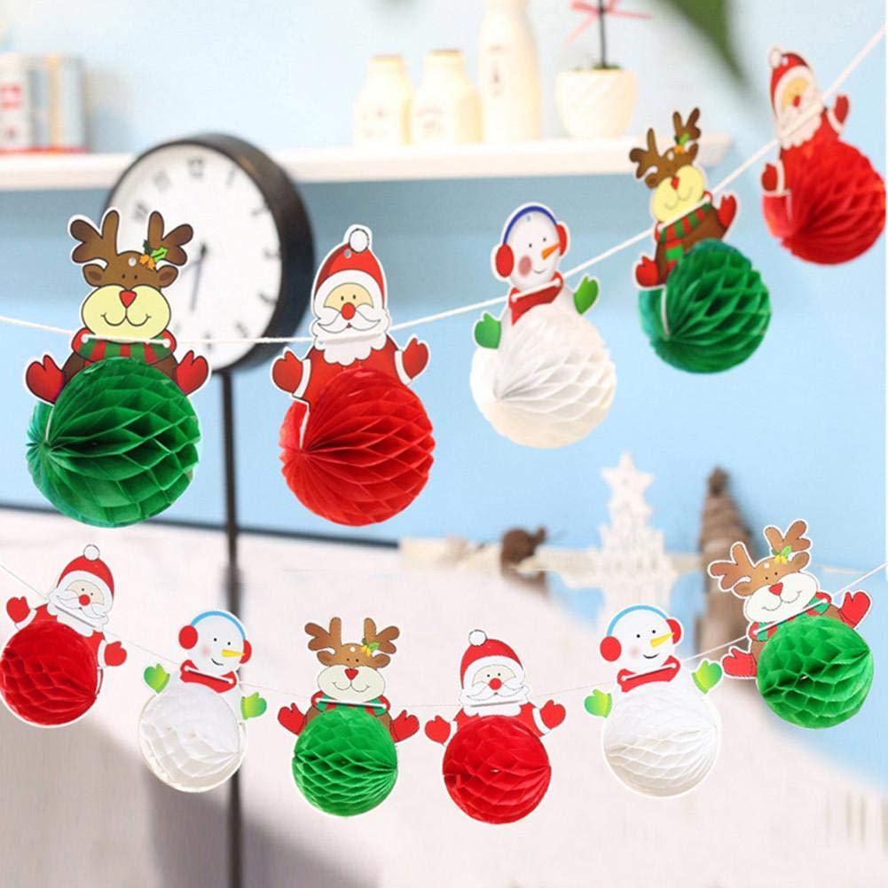 iStary Decoraciones De Navidad Santa Claus Muñeco De Nieve Papel Bola Garland Festival Lugar Arreglo Papel Garland Artículos De Navidad Decoración Del ...