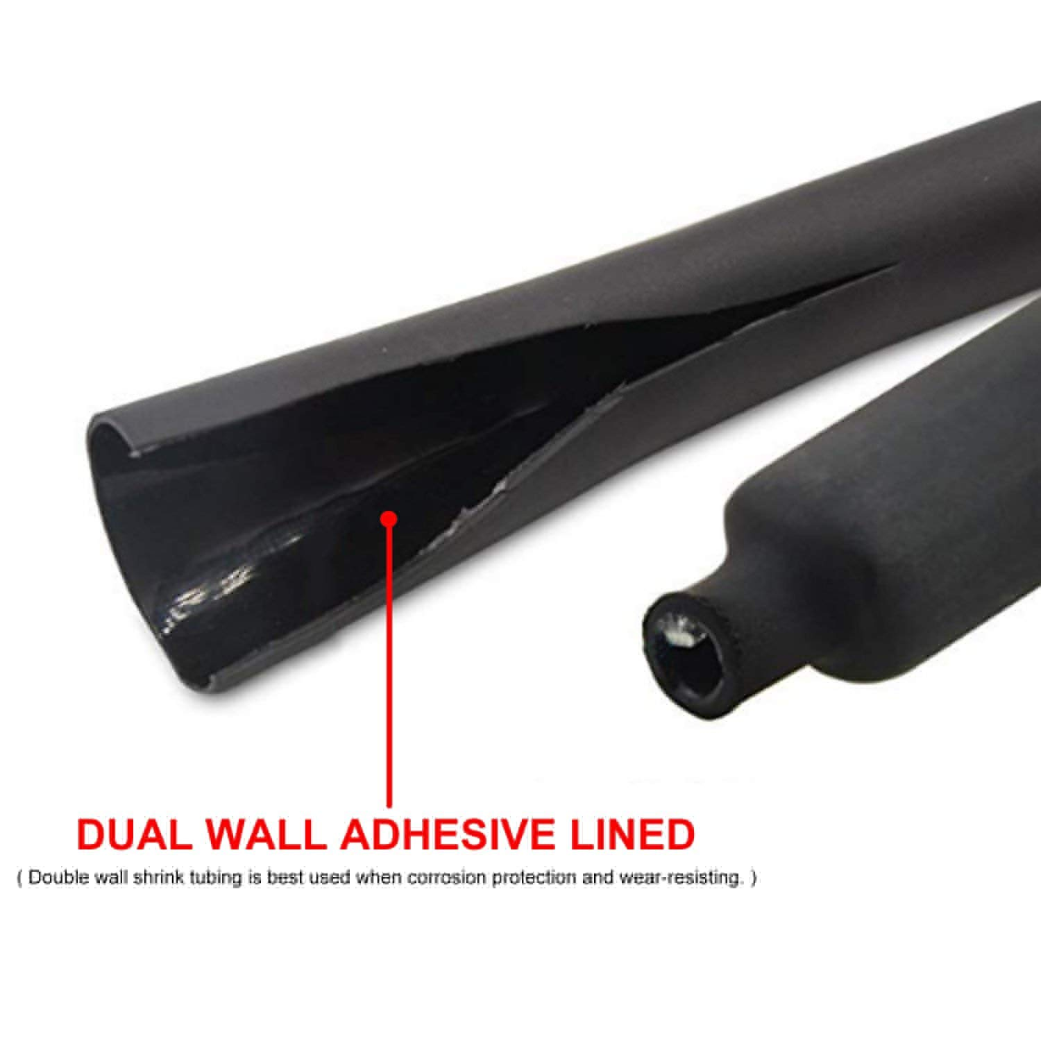 5FT 5//8 Dia Heat Shrink Sealing Tubing Dual Wall 3:1 Adhesive Lined Electrical Device Insulation Flame Retardant Protection Wear-Resistant Black