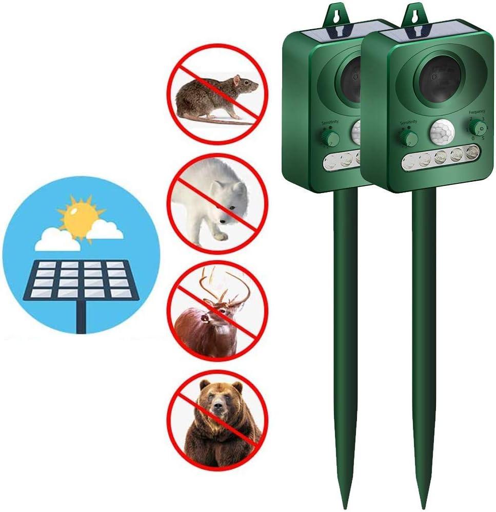 CDS Ahuyentador solar ultrasónico de animales con sensor de movimiento y flash para ahuyentar a conejos, ardillas, zorros, aves, mofetas, etc. 2 unidades