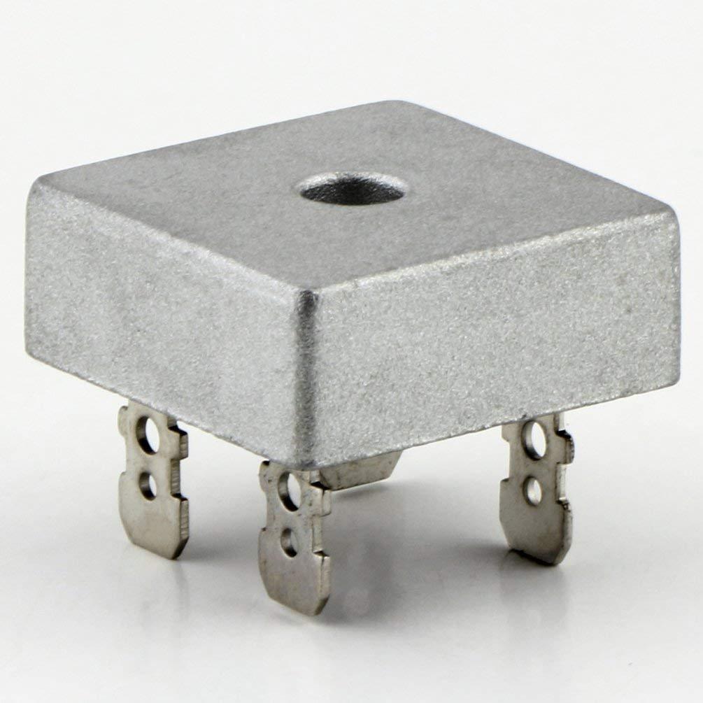 Funnyrunstore KBPC5010 Rectificador de puente de 1000 voltios Caja de metal de 50 A 50 A para disipaci/ón de calor Puente cuadrado de diodo de forma cuadrada de 1000 V plata y negro