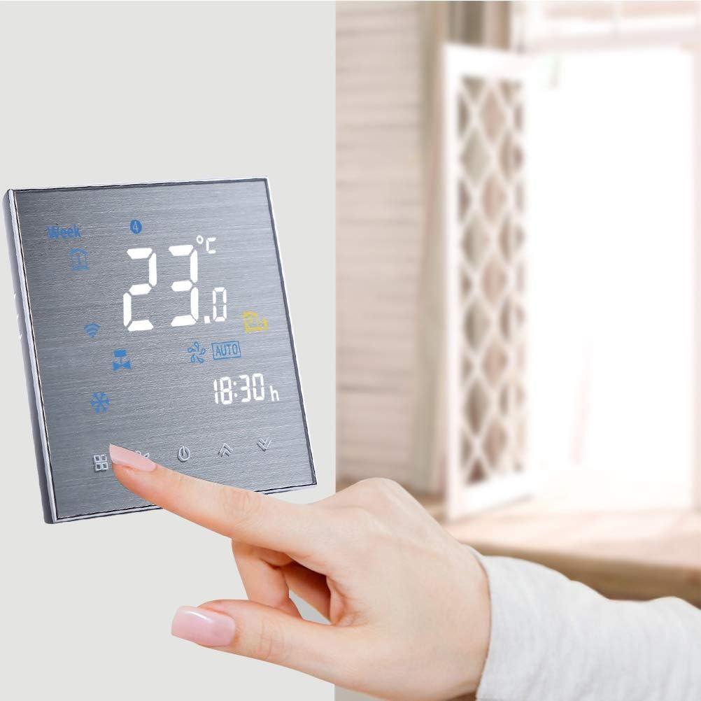 Qiumi Thermostat Wifi intelligent Contr/ôleur de temp/érature programmable de climatisation avec /écran LCD 4 tubes lindice UV Compatible avec Alexa Google Home 95~240V AC Afficher la m/ét/éo