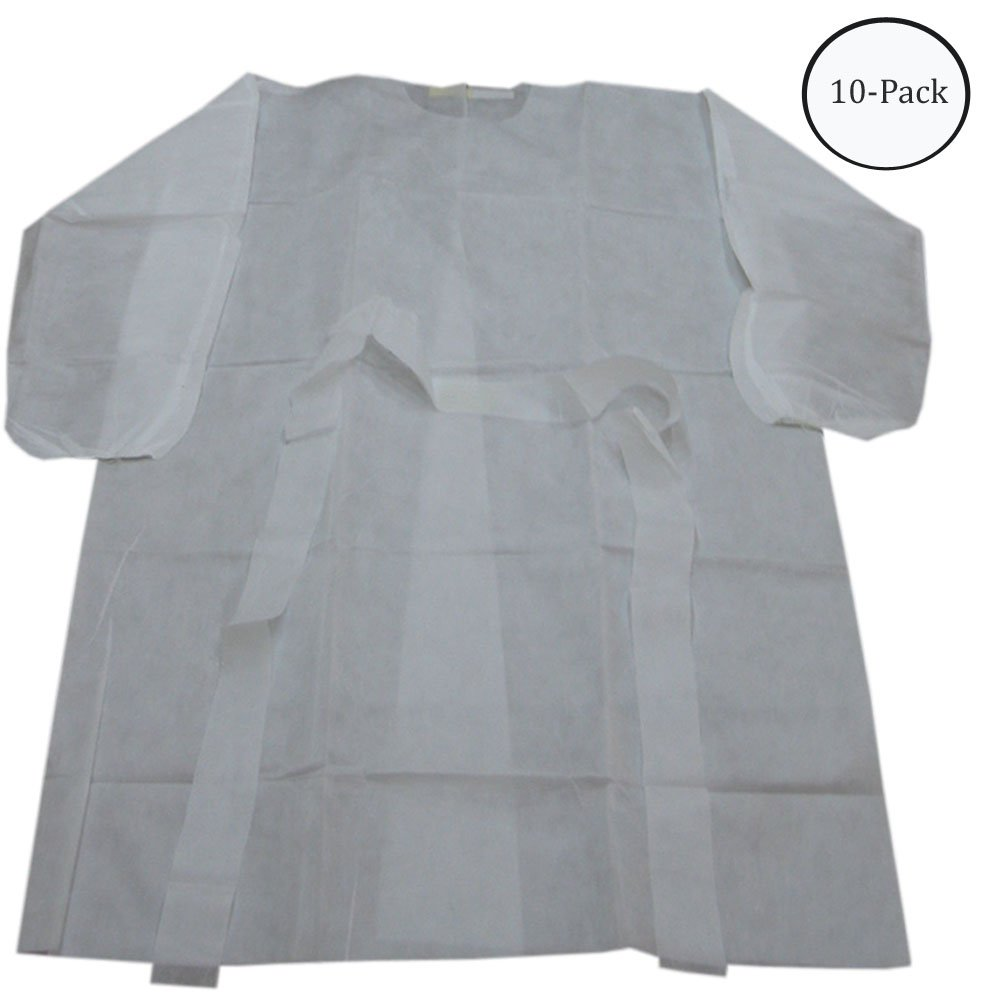 Disposable White Gown : ( Pack of 10 Pcs )