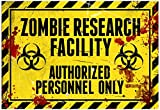 Zombie Research Facility Sign Poster Print 19 x 13in